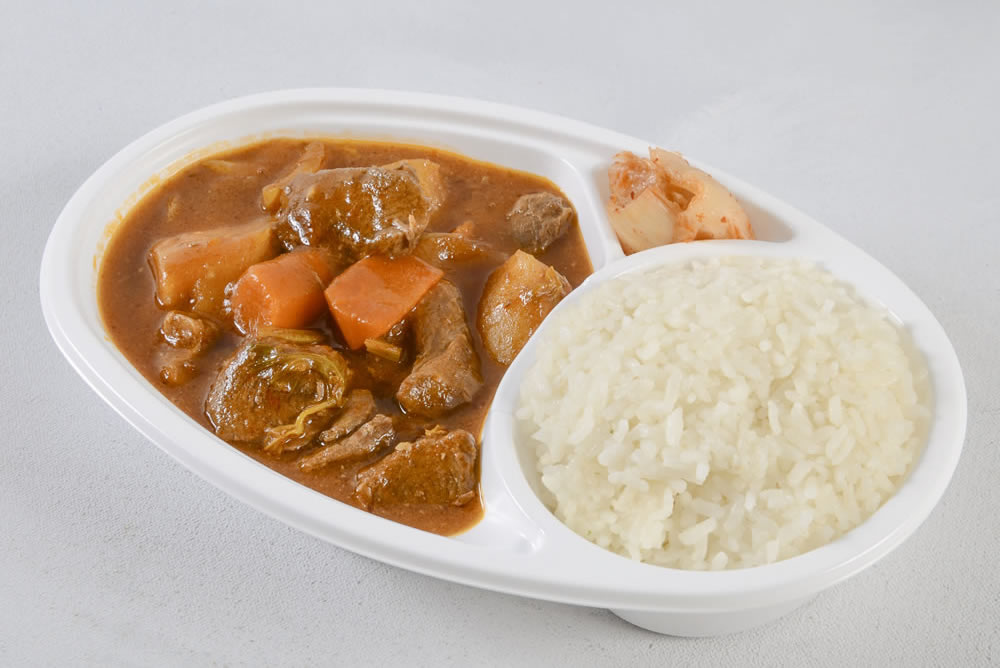 Thursday - Beef Stew Bento: Flavorful slow cooked dish with fresh meats and vegetables served with rice and a side of kim chee. $6.25