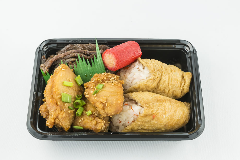 Mini Cone Sushi Bento: Two inari sushi (cone sushi) with Korean chicken, teriyaki beef, and a hot dog. $6.55 *Available Monday-Saturday Only.*