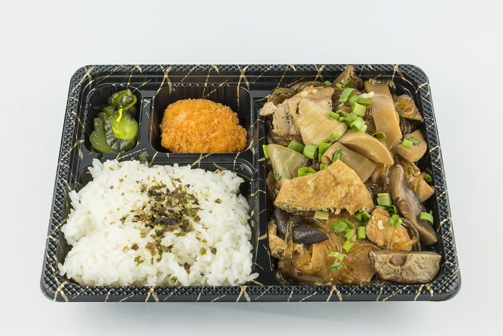 Wednesday - Chicken Hekka Bento: A sweet and salty sukiyaki type of dish with an assortment of vegetables, aburage, and chicken. $6.50