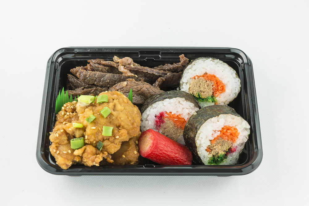 Mini Maki Sushi Bento: Three maki sushi (rolled sushi) with Korean chicken, teriyaki beef, and a hot dog. $6.35 *Available Monday-Saturday Only.*
