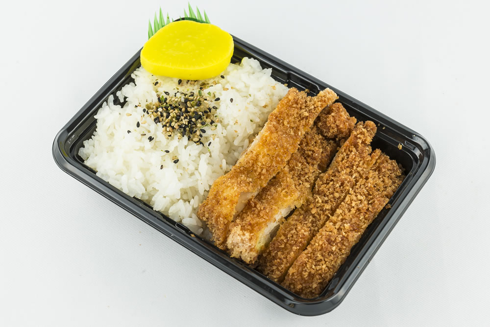 Mini Chicken Katsu Bento: Crispy breaded chicken fillet served with a traditional Japanese tonkatsu sauce. $5.35