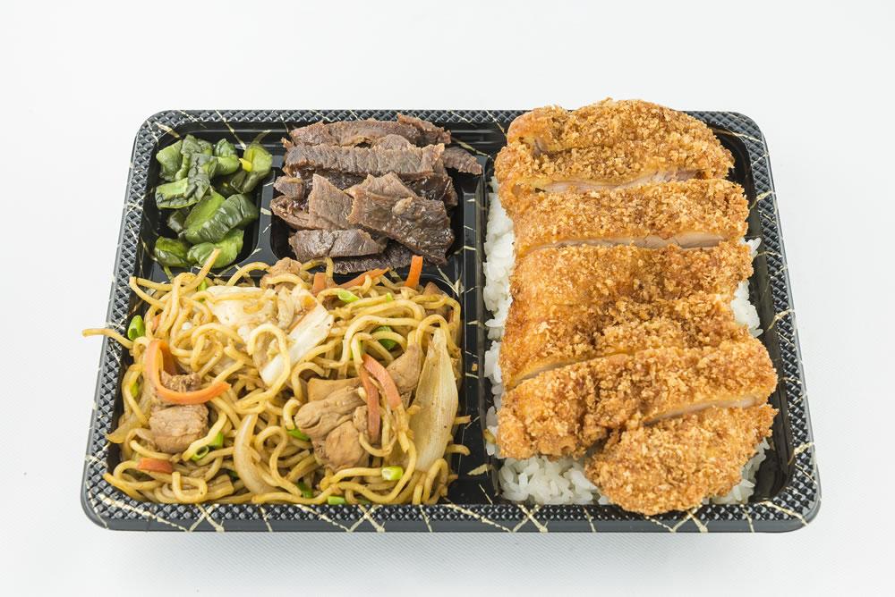 Tuesday - Yakisoba Combo Bento: Chicken yakisoba noodles, teriyaki beef, and chicken katsu served over a bed of rice. $6.95
