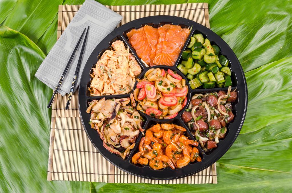 "16"" Seafood Combo Platter. Choose up to 7 different items : Sashimi, Ahi Poke (shoyu, spicy, Hawaiian, shoyu limu, oyster), Imitation Crab Poke, Shrimp (kim chee or garlic), Tako Poke (reg or kim chee), Kim Chee Cucumber, Tofu Poke. 16"" size - $74.99"