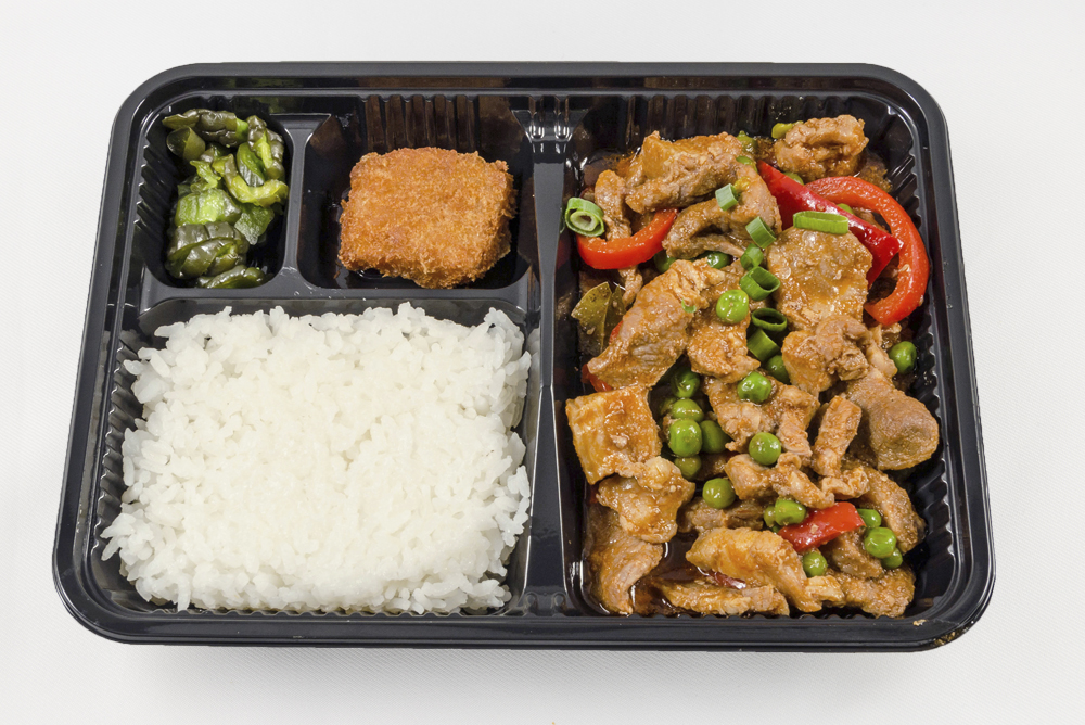 Tuesday - Pork & Peas Bento: Pork w/green peas and red bell peppers stewed in a tomato sauce. $6.25