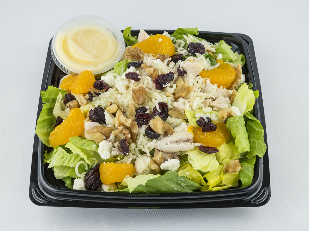 Mandarin Chicken Salad: Grilled chicken breast, mandarin oranges, provolone & feta cheese, walnuts, & dried cranberries, over romaine lettuce with a white dressing. $6.25