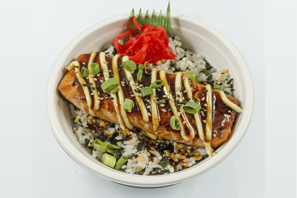 Thursday - Salmon Bowl: Steamed salmon drizzled with mayonnaise and a sweet soy based sauce topped with green onions and sesame seeds. $6.99